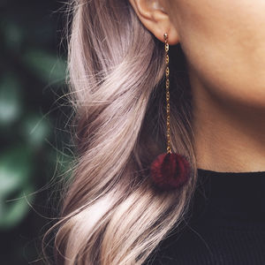 Harper. Faux Fur Pom Pom Drop Earrings In Deep Red - earrings