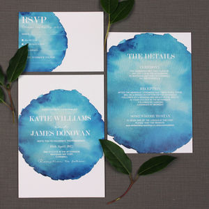Bold Watercolour Wedding Invitation - menu cards