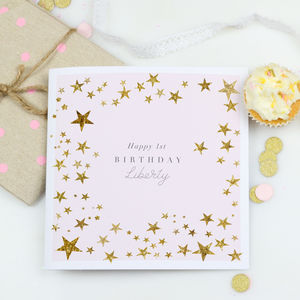 Personalised First Birthday Card 'Pink Blush stars' - 1st birthday cards