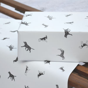 Lino Print Dog Gift Wrap Wrapping Paper - shop by category