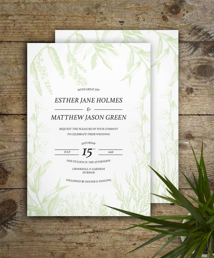 wedding invite email example%0A Flora And Fauna Wedding Invitations