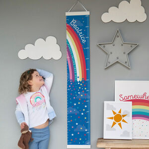 Personalised Rainbow And Stars Canvas Height Chart