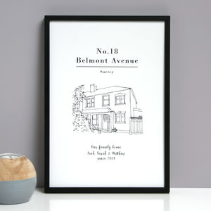 Personalised House Line Drawing Print - personalised