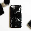 Cracked Black Marble Monogram Phone Case
