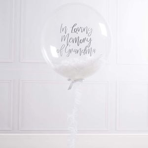 Personalised White Serenity Feather Filled Balloon - outdoor decorations