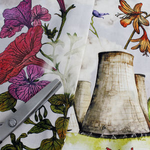 Flowers And Cooling Towers Print Fabric