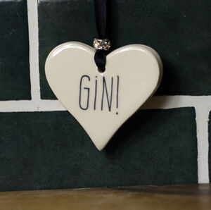Gin Or Prosecco Ceramic Heart