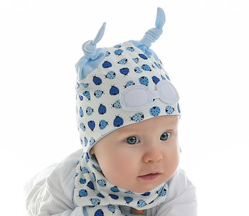 Newborn Ladybird Hat Blue