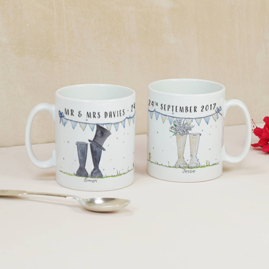 personalised wedding mr and mrs welly boot mugs by this is nessie. Black Bedroom Furniture Sets. Home Design Ideas