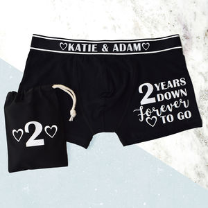 Personalised Second Wedding Anniversary Mens Pants