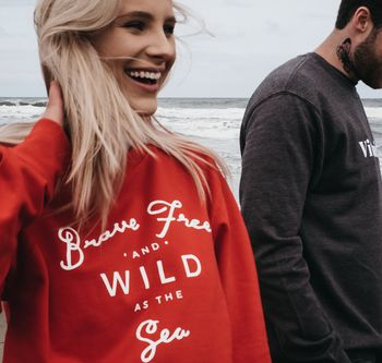 Red 'Brave Free Wild As The Sea' Womens Sweatshirt