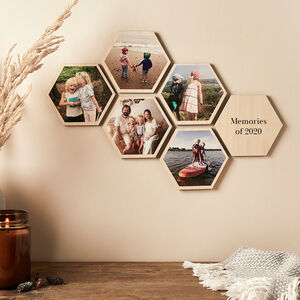 Personalised Photo Wooden Hexagon Wall Art Set
