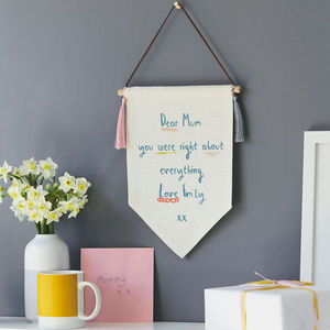 Personalised Dear Mum Message Linen Pennant Flag