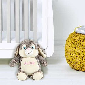 Personalised Grey Bunny, Suitable From Birth - soft toys & dolls