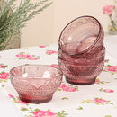 Four Berry Pink Glass Serving Bowls