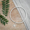 Teeny Daisy Bangle In Solid Silver And 18ct Gold