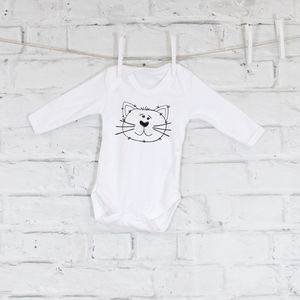 Monochrome Cat Baby Grow - new in baby & child