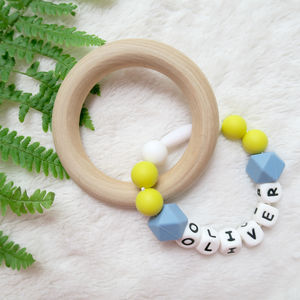 Personalised Large Wooden Teething Ring