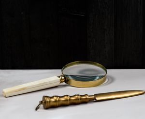 Gold Edged Magnifying Glass And Letter Opener