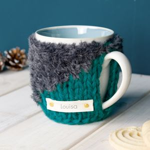 Personalised Contrast Knit Mug Cosy - tea & coffee cosies