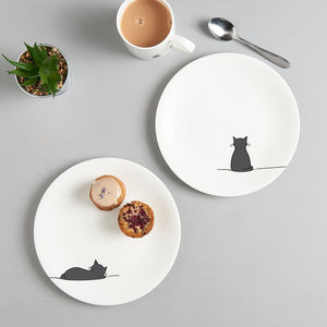 Sitting Cat And Sleeping Cat Side Plate, Set Of Two