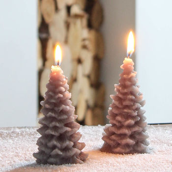 Recycled Grey Christmas Tree Candle Set Of Two