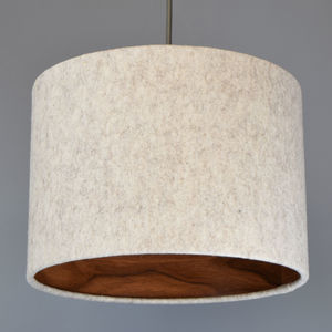 Natural Wool Felt Lampshade With Choice Of Wood Lining - bedroom