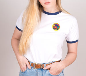 'Camp Calpine' 1974 Embroidered Patch Ringer T Shirt - tops & t-shirts