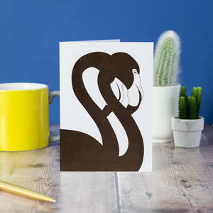 Black Flamingo Pair Blank Greetings Card