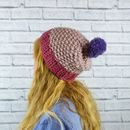 Colour Block Pinks Bobble Hat
