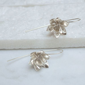 Sterling Silver Lotus Earrings - earrings