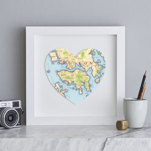 Personalised Location Hong Kong Map Heart Print - maps & locations