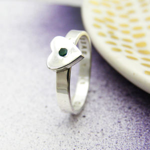 Personalised Birthstone Heart Ring