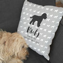 Personalised dog cushion with dogs name and breed