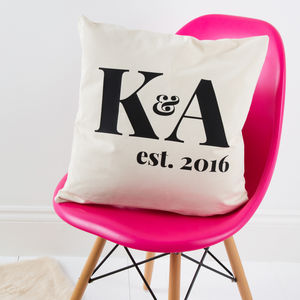 Couples Initials Established Cushion Cover - cushions