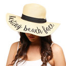 Resting Beach Face Straw Embroidery Floppy Hat