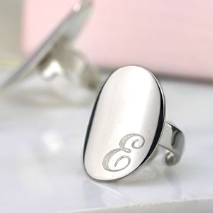 Hand Made Silver Initial Signet Ring - 18th birthday gifts