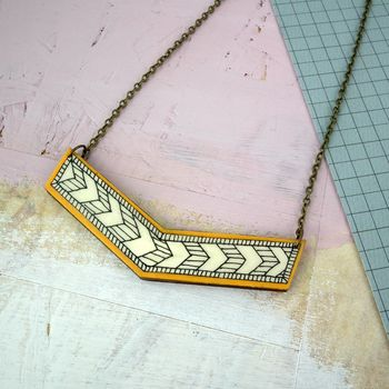 Illustrated Geometric Chevron Necklace