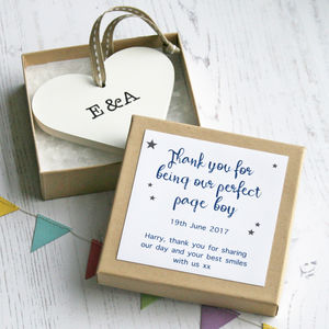 Personalised Page Boy Wedding Heart - wedding favours