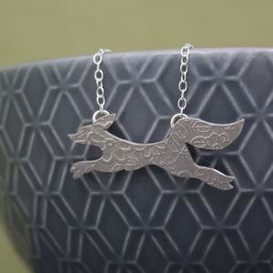 Sterling Silver Watercolour Baby Fox Necklace