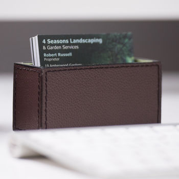 Personalised Leather Business Card Holder Brown