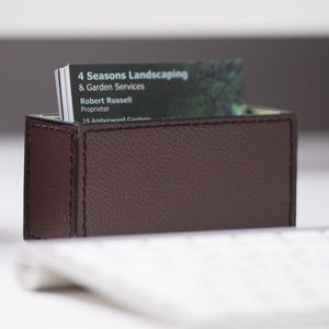 Leather Business Card Holder Brown