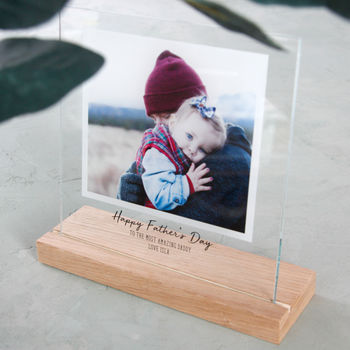 Floating Photo Father's Day Glass Square
