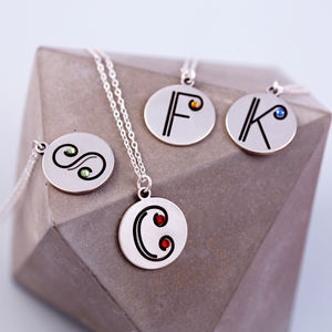 Sterling Silver Initial Necklace With Birthstone Detail