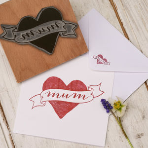 Mum Tattoo Mothers Day Stamp - ribbon & gift tags