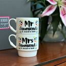 Mr And Mrs Stacking Bone China Mug Wedding Set