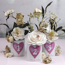Personalised Watercolour Heart Design Table Number Pots