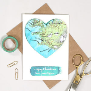 Personalised Map Heart Watercolour Valentines Card - cards
