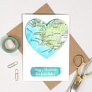 Personalised Map Heart Watercolour Valentines Card