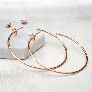 Star Hoop Earrings - earrings